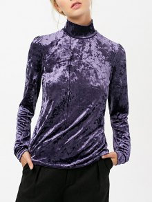 High Collar Long Sleeve Velvet Top