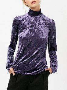 Cuello Alto De Manga Larga De Terciopelo Top - Púrpura S