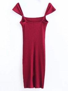 Low Back Ribbed Cap Sleeve Pencil Dress - BURGUNDY M