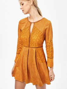 Lace Insert Cut Out Long Sleeve Dress - Ginger