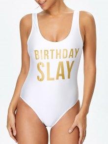 Birthday Slay Letter Swimwear - White