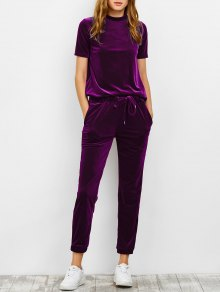 Velvet Tee And Jogging Pants Sweat Suit - Purplish Red