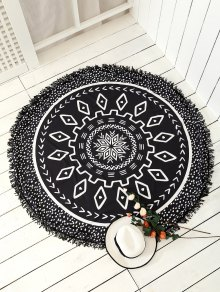 Argyle Mandalas Tassel Beach Throw - Black