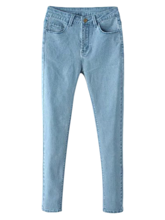 latest High Waisted Zip Fly Jeans - LIGHT BLUE L