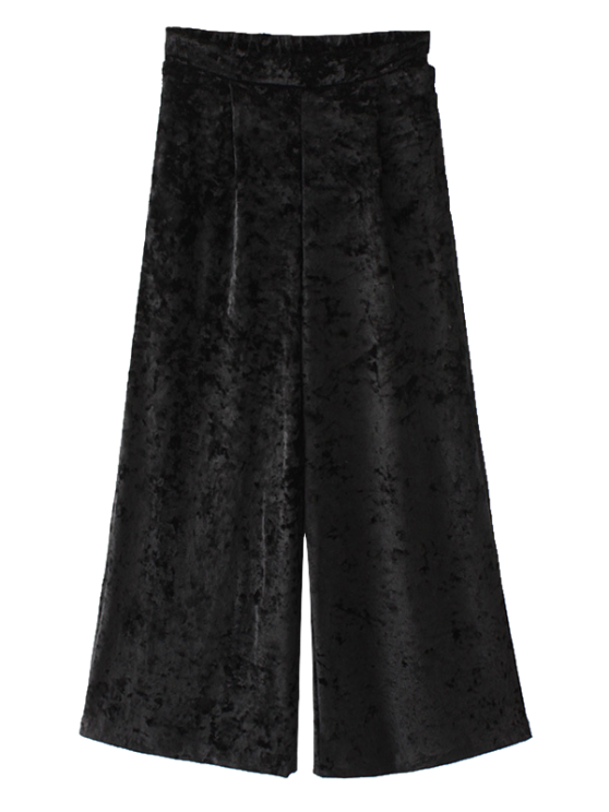 Loose Velvet Wide Leg Pants - BLACK M Mobile