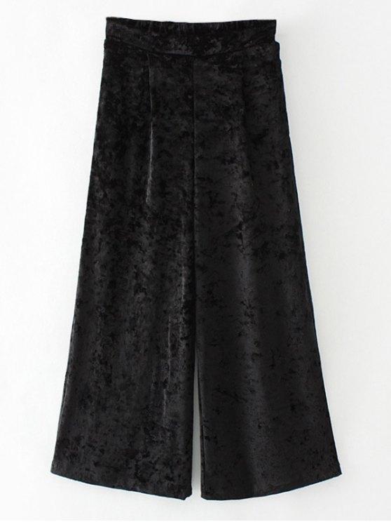 Terciopelo suelta pantalones de pierna ancha - Negro M