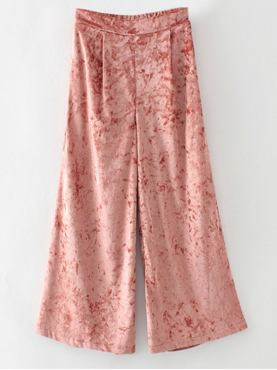 shops Loose Velvet Wide Leg Pants - ORANGEPINK M