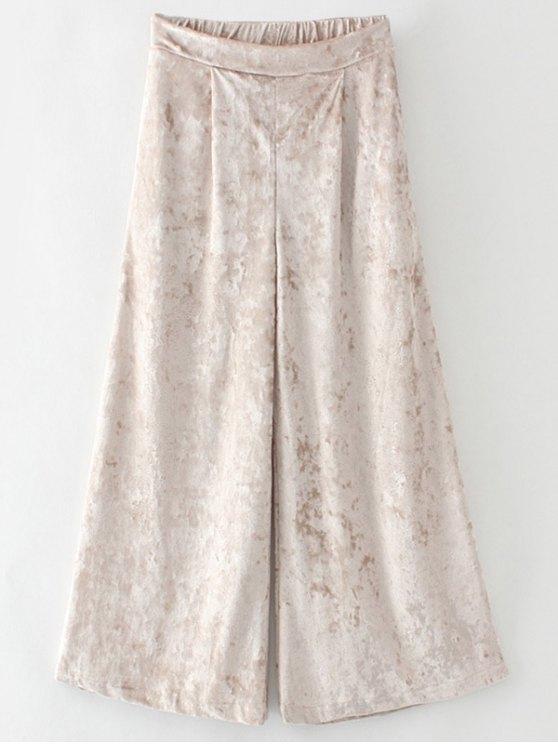 Terciopelo suelta pantalones de pierna ancha - Dorado S