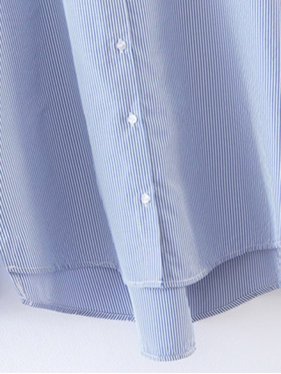 Embroidered High-Low Striped Shirt - BLUE M Mobile
