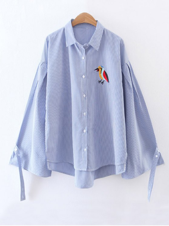Embroidered High-Low Striped Shirt - BLUE S Mobile