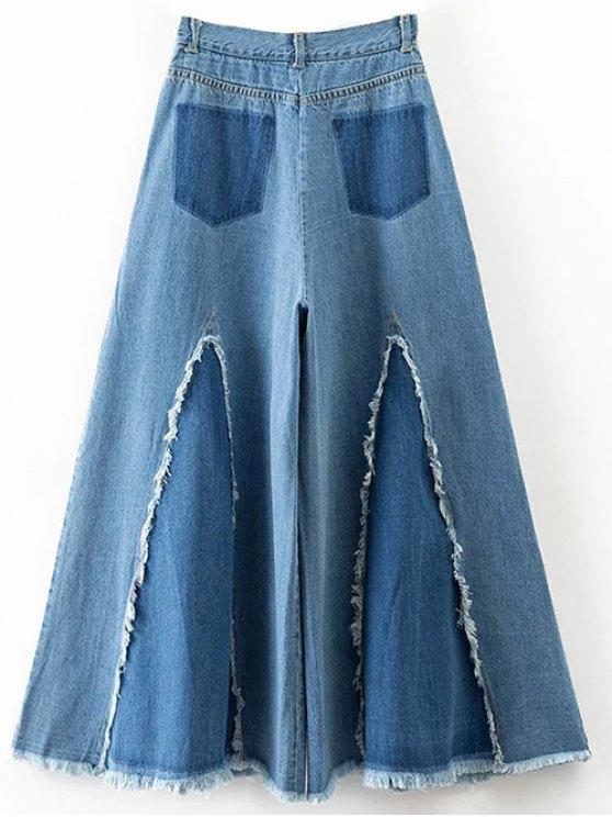 High Rise Frayed Culotte Jeans - DENIM BLUE L Mobile