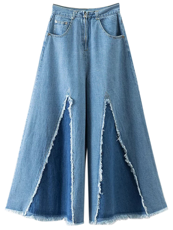 hot High Rise Frayed Culotte Jeans - DENIM BLUE L