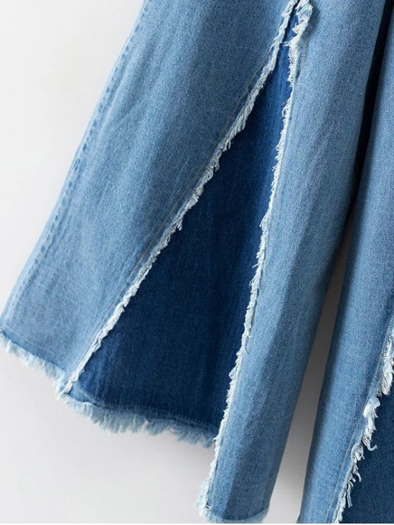High Rise Frayed Culotte Jeans - DENIM BLUE S Mobile