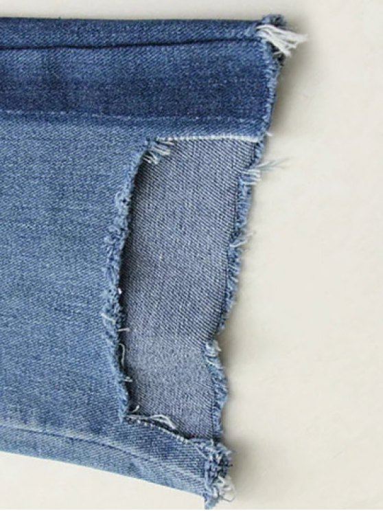 Frayed Mom Fit Jeans - DENIM BLUE S Mobile