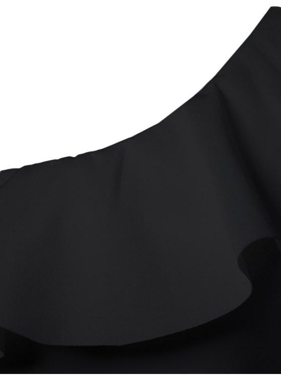 Ruffles Long Sleeve Skinny Bodysuit - BLACK L Mobile