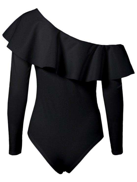 Ruffles Long Sleeve Skinny Bodysuit - BLACK S Mobile