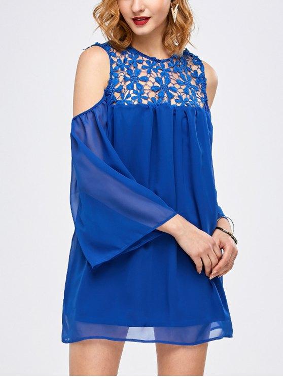 Encaje Cold Shoulder túnica de la gasa de la blusa - Azul S