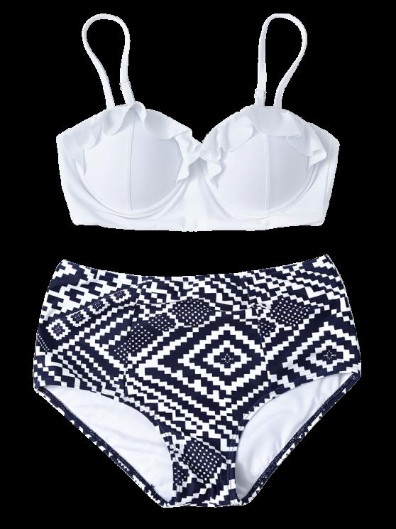 Geo del bikini de talle alto con aros - Azul y Blanco S