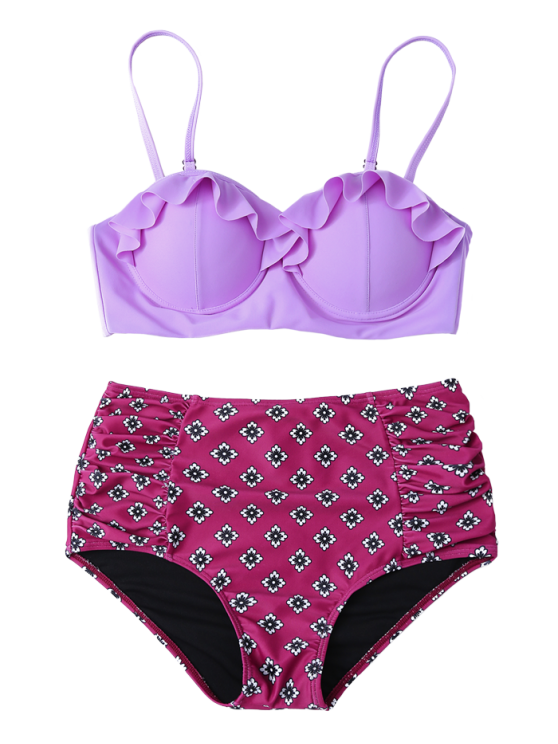Ruffles High Waisted Underwired Bikini - PURPLE S Mobile