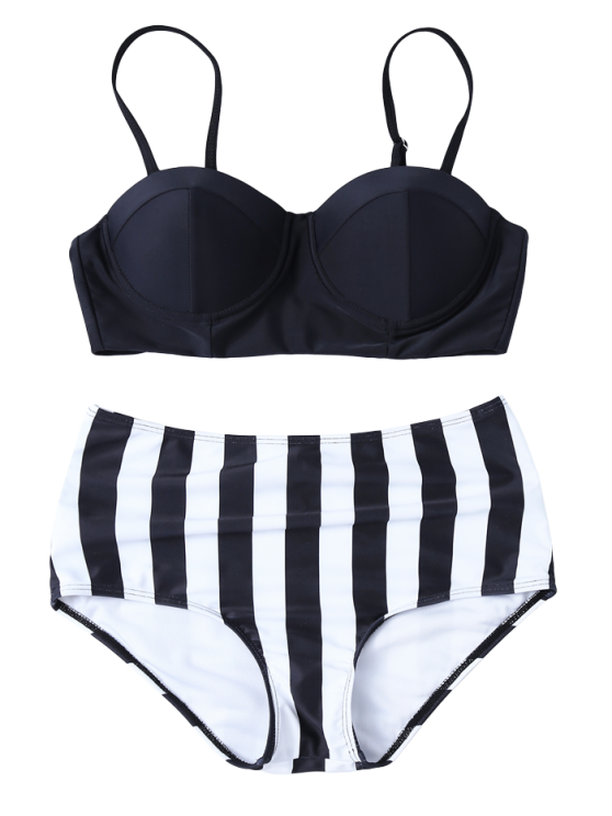Striped High Waisted Underwired Bikini - BLACK M Mobile