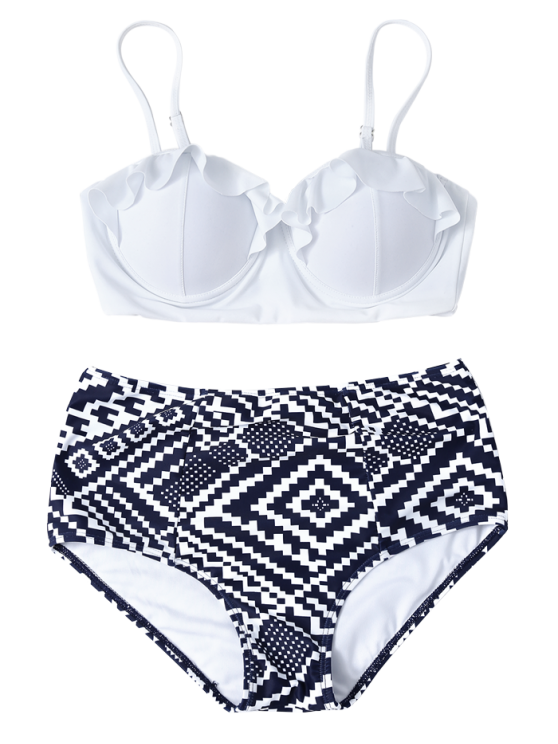 Geo High Waisted Underwired Bikini - BLUE AND WHITE L Mobile