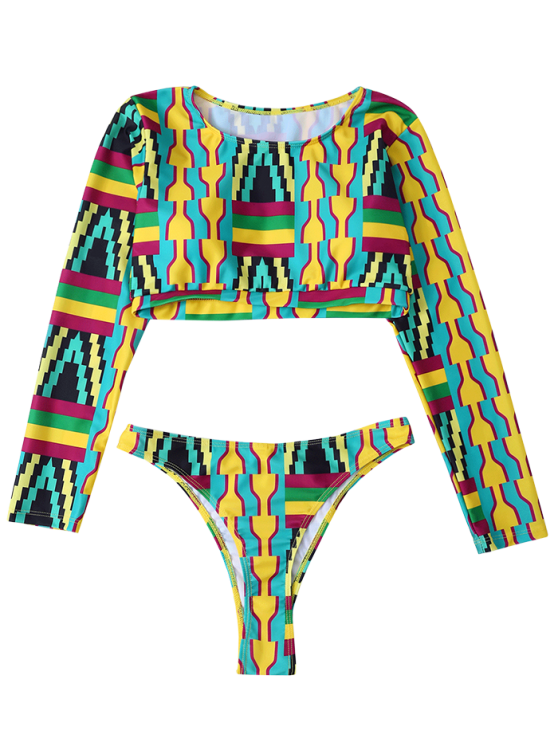 High Cut Long Sleeve Bathing Suit - MULTICOLOR L Mobile