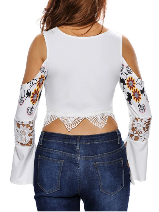 Flare Sleeve Cold Shoulder Printed Cropped Top - WHITE L Mobile