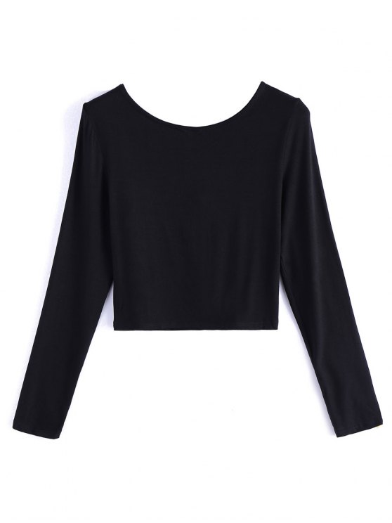 Cropped Plunge Tee - BLACK XL Mobile