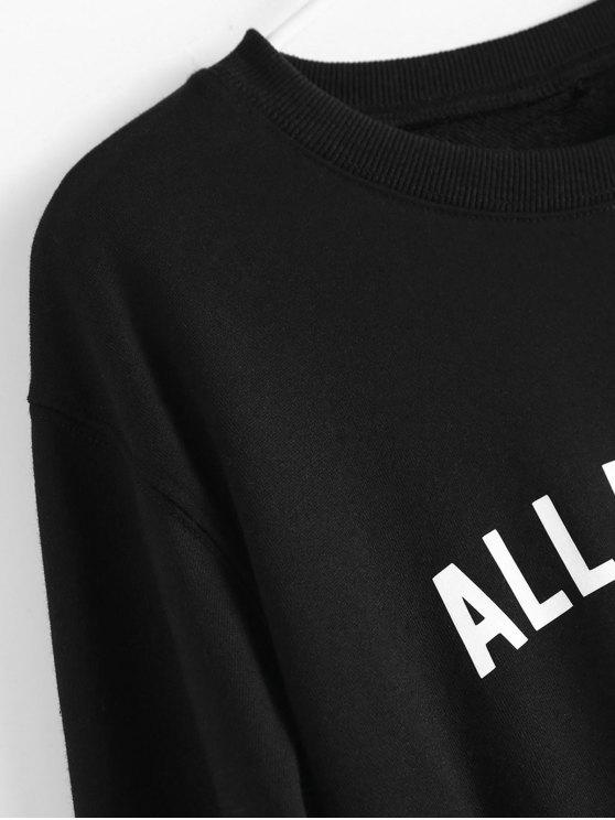 Contrast Letter Pullover Sweatshirt - BLACK S Mobile