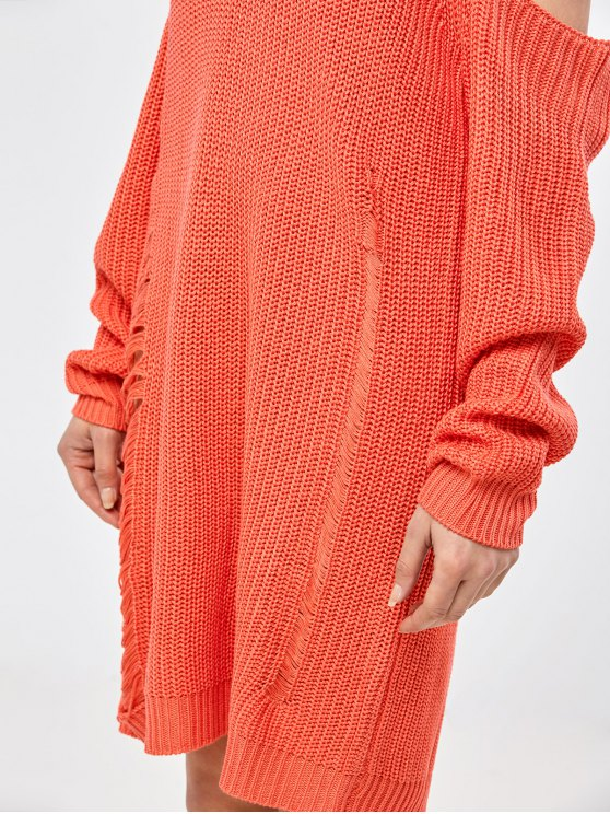 Distressed Cold Shoulder Chunky Sweater Dress - ORANGE RED S Mobile