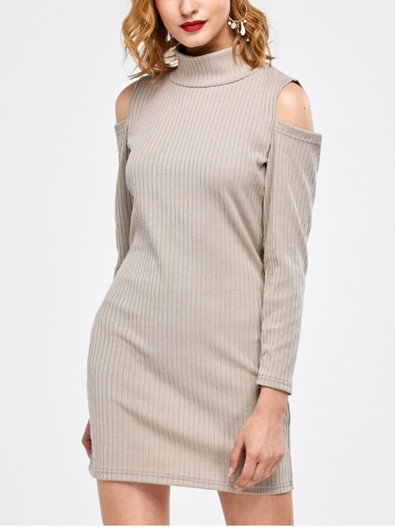 online Mock Neck Cold Shoulder Fitted Knitted Dress - LIGHT GRAY M