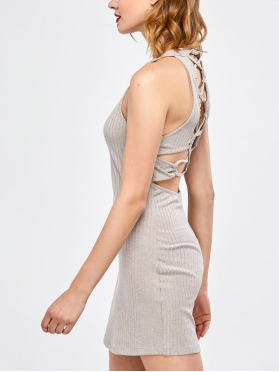 Lace Up Backless Bodycon Dress - LIGHT GRAY S Mobile