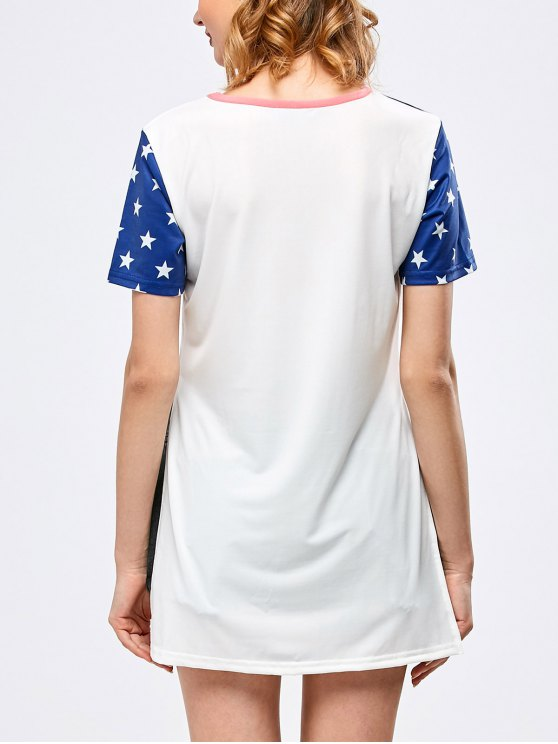 Side Slit Graphic Star Tunic T-Shirt - WHITE L Mobile