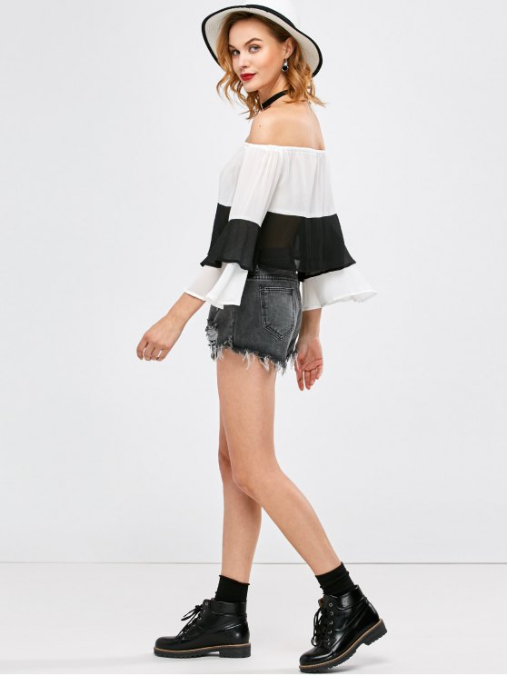 Bell Sleeve Off Shoulder Color Block Blouse - WHITE AND BLACK S Mobile