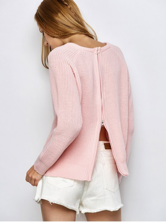 Chunky Back Zipper Sweater - LIGHT PINK S Mobile