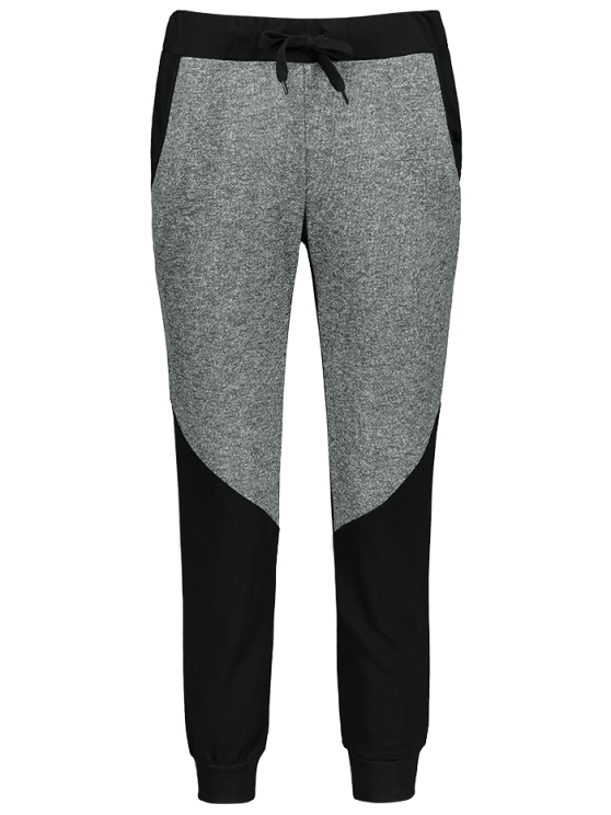 Color Block Heathered Sporty Pants - BLACK M Mobile