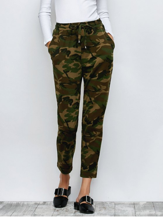 Camo Drawstring Pants - ARMY GREEN 2XL Mobile