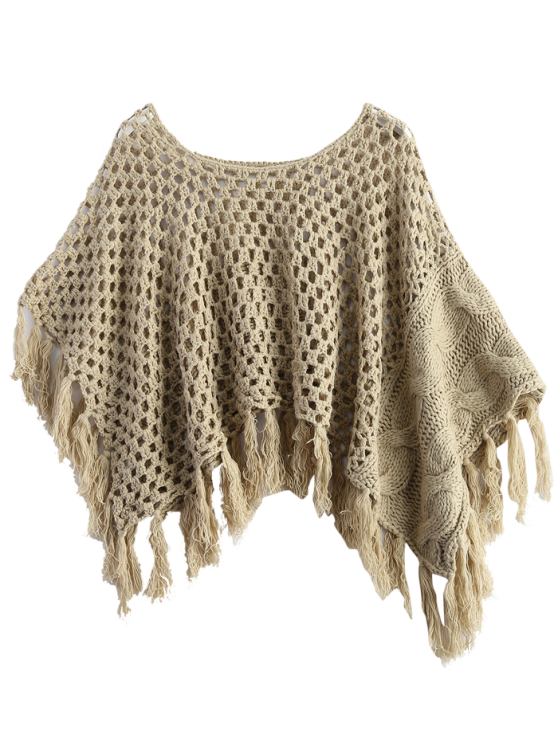 Knitted Tassel Poncho Cape - GRAY ONE SIZE Mobile