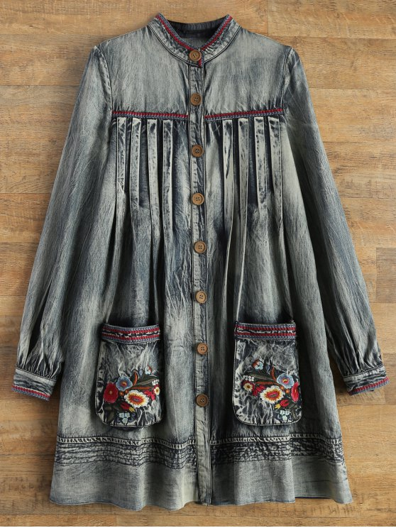 Denim Round Neck Long Sleeve A Line Dress - BLUE L Mobile