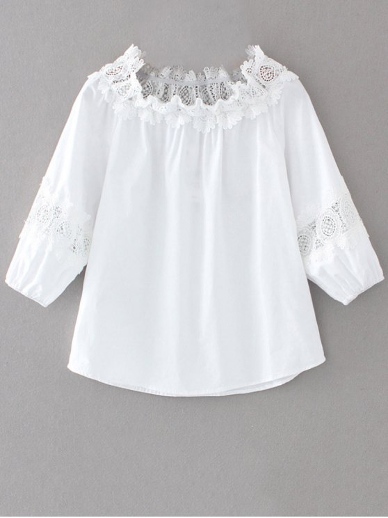 Off The Shoulder Lacework Blouse - Blanc S