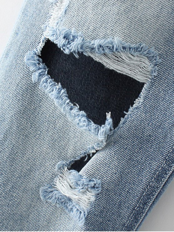 Ripped Narrow Feet Pencil Jeans - BLUE GRAY L Mobile