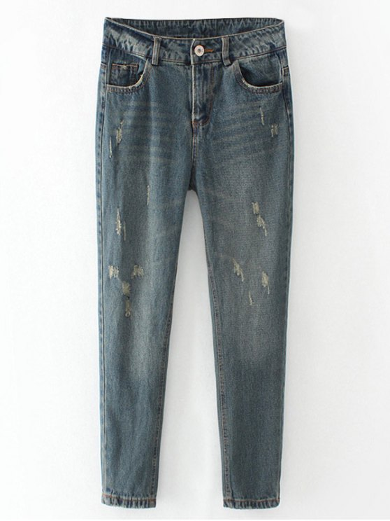 lady Frayed Broken Hole Pencil Jeans - BLUE GRAY L