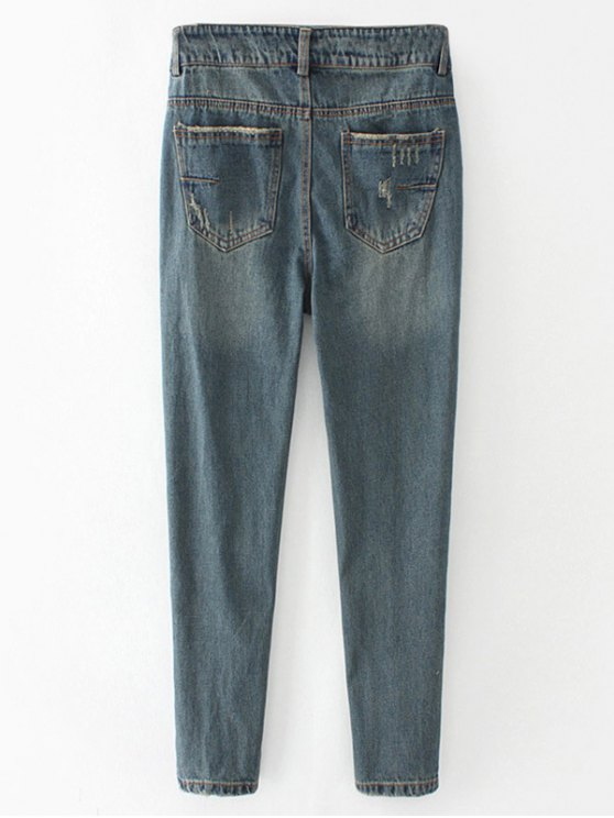 Frayed Broken Hole Pencil Jeans - BLUE GRAY M Mobile