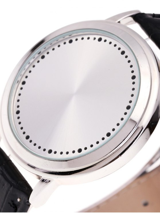 Faux Leather LED Watch - WHITE  Mobile