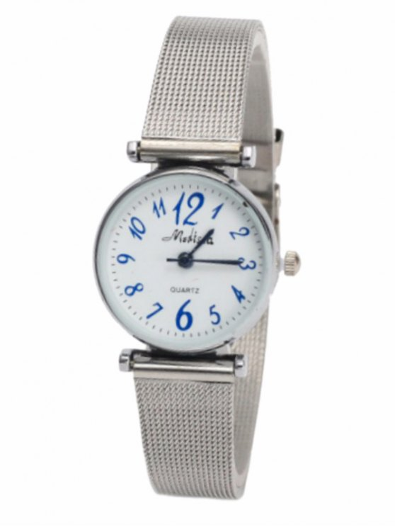 Alloy Mesh Band Number Watch -   Mobile
