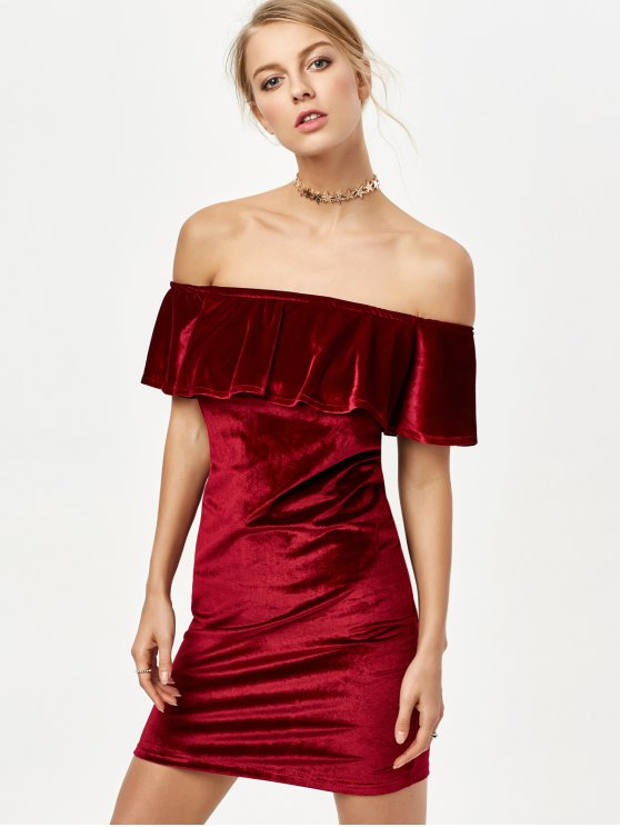 Off The Shoulder Velvet Bodycon Dress - BURGUNDY M Mobile