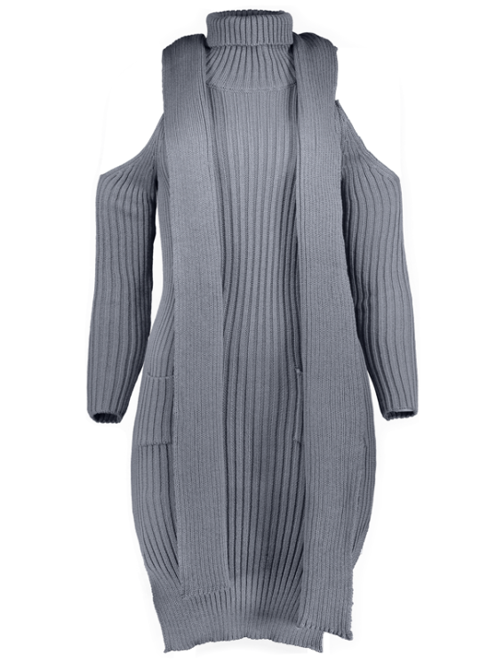 Slit Cold Shoulder Sweater Dress - GRAY L Mobile