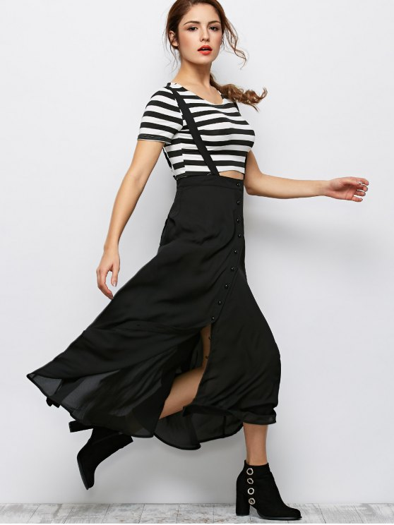 Button Front Maxi Braces Skirt - BLACK L Mobile