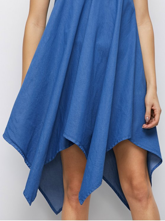 Cami Hanky Hem Denim Slip Dress - DENIM BLUE XL Mobile