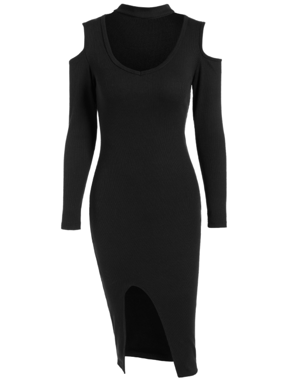Cold Shoulder Choker Bodycon Dress - BLACK ONE SIZE Mobile